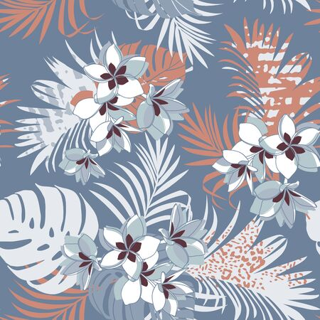 Seamless exotic pattern with tropical leaves and plumeria flowers. Vector hand draw gray-blue beige background. Banner with tropic summertime topic wrapping paper, bed linen, textile