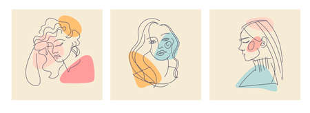 Contemporary outline female silhouettes. Colored shapes. Hand drawn outline trendy vector illustrations. Set of three Modern abstract faces girls. Continuous line, minimalistic. Pastel colors