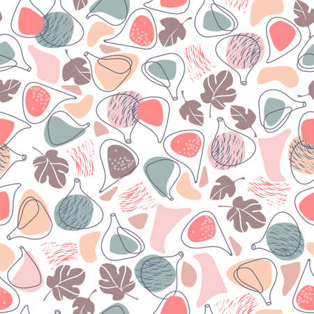 Seamless pattern with fig fruits colored shapes. Vector. Hand drawing ink illustration.
