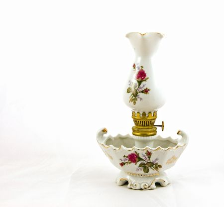 This beautiful white lantern is an heirloom in our family for several generations.  Isolated on a white background. photo