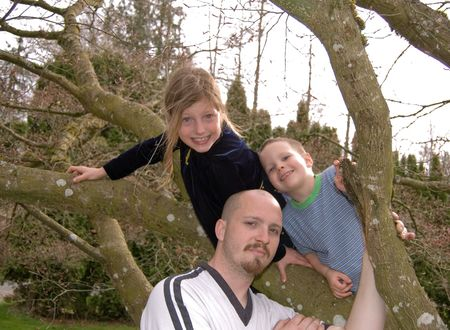 Photo of a family, young Caucasian dad and his two kids, an 8 year old girl and 4 year old boy having a good time in a tree. photo
