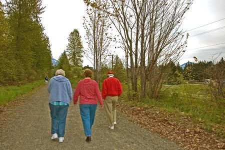 wooded path: This elderly couple and a middle aged woman are out for a walk along a wooded path. Stock Photo