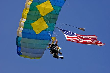 This participant is a skydiver from the 75th annual Loggerrodeo in Sedro Woolley Washington, on July 4, 2009. Stock Photo