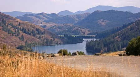 washington landscape: This beautiful mountain lake landscape is taken from a high distance of Twin Lakes Washington.