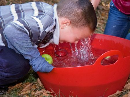 This 5 year old little boy is bobbing for apples in a red tub of water with water running off his face. photo