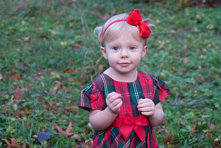This cute little toddler is in a plaid dress outside. Stock Photo - 5985341