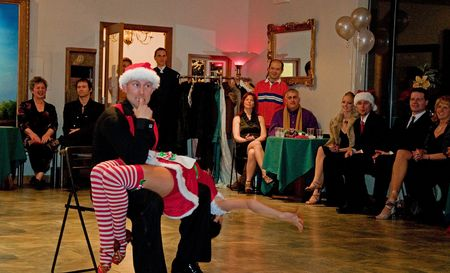 EVERETT, WA - DECEMBER 13: Unidentified Christmas couple dances ballroom style.  Dancing helps solidify relationships.  Silver Ball on Silver Lake event was held on December 13, 2009 in Everett, WA.