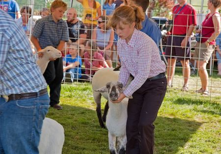 LYNDEN, WA - AUGUST 19: Unidentified girl age 10 and boy 10, of Lynden, competed with their lambs at Northwest Washington Fair.  The event was held on August 19, 2009 in Lynden, WA.