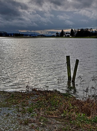 STANWOOD, WA – DECEMBER 14: - Flood waters from Stillaguamish river poured over farmland recently.  The natural disaster took place December 14, 2010 in Stanwood, Wa.