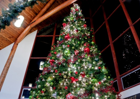 This dramatic image is of a very large indoor Christmas tree with lights, ornaments, balls, square gifts and more reflected against sectioned windows against a night sky.  Classic, traditional setting in a high beamed ceiling. Stock Photo - 10836184