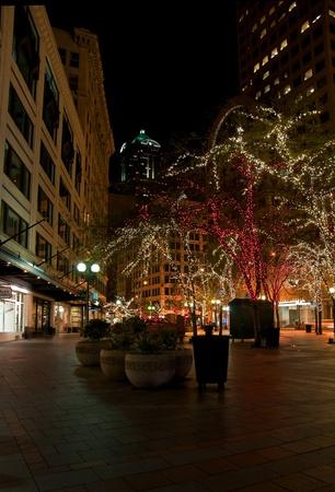 Esta imagen es de la ciudad de Seattle, Washington en el condado de King, en el momento de la Navidad con �rboles de la ciudad decoradas con luces de Navidad en el sem�foro.