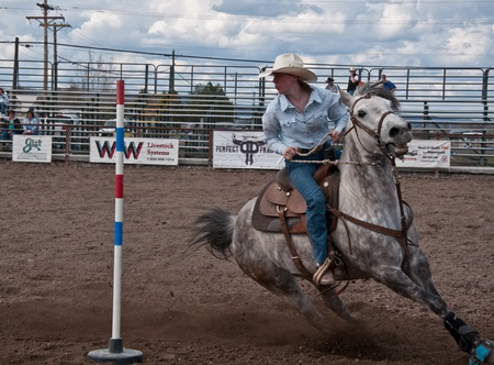 COULEE CITY, WA - APRIL 16:  Jane Doe teen age 16 of Coulee City, WA competed at a rodeo event specifically for teen competition, offering unique learning to students.  Held on April 16, 2010 in Coulee City, WA. Stock Photo - 11117863