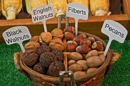 quartered: This is a basket quartered with nuts and a couple of nutcrackers.  English walnuts, black walnuts, pecans and filberts fill this basket.