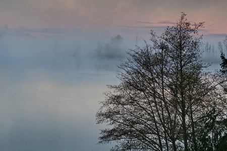 foggy morning on a lake sunrise with the mist rising up off the water at Clear Lake Washington, Skagit County, America. photo