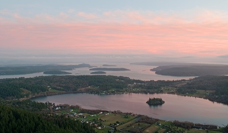 This aerial shot is of Lake Campbell, unique in that it Stock Photo