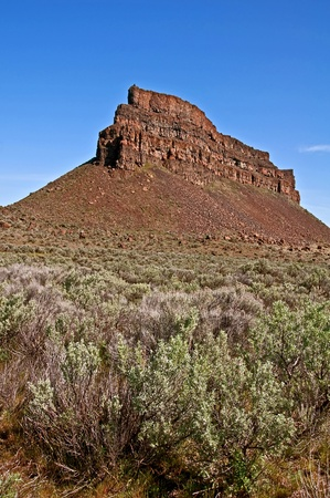 This gorgeous landscape stock photo is set in vertical orientation and has sagebrush in the foreground with a very high rocky mountain bluff with shale slides towards the bottom.  It Stock Photo - 11540534