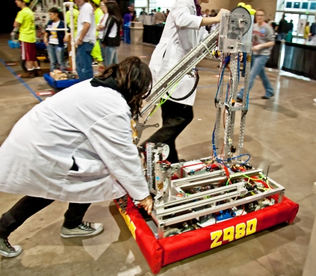 SEATTLE, WA - MARCH 17:  Teens competed at a state  level competition for science and technology robotics competition.  Held on March 17, 2011 in Seattle, WA.
