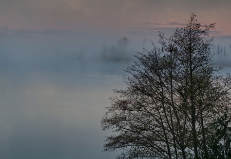a foggy morning on a lake at sunrise with the misty rising up off the water photo