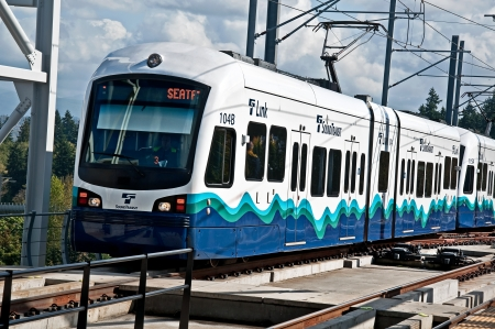 SEATTLE, WA ? JULY 17:  The Link Light Rail public transit celebrated it 3rd successful year, with plans to increase its service area.  Light rail is a real solution to the area?s large traffic congestion problems.  July 17, 2012 in Seattle, WA.