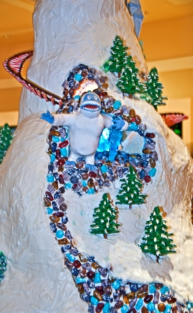 abominable: SEATTLE WA - DECEMBER 13:  This masterpiece gingerbread Abominable snowman, was on display at the 19th annual Gingerbread Village hosted at the Sheraton Hotel .   Held on December 13, 2011 in Seattle, WA.