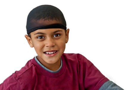 bi racial: This is a cute 9 year old bi-racial boy, wearing a black hair net on his head   He is wearing a burgundy colored tee shirt, and is isolated on a white background