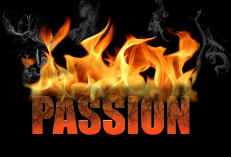 The word passion is written in fire and smoke on a black horizontal background   Perfect for any conceptual ideas for love, romance, Valentine Day, etc  Stock Photo