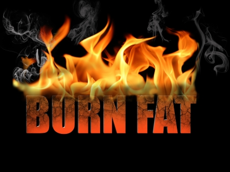 This conceptual digital art is the words burn fat, to show dieting, weight loss, etc, with flame text on a black background  Standard-Bild