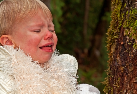next year: This 1 year old toddler girl with blond hair is crying outdoors, next to a tree   She is wearing a white fluffy scarf and clearly upset