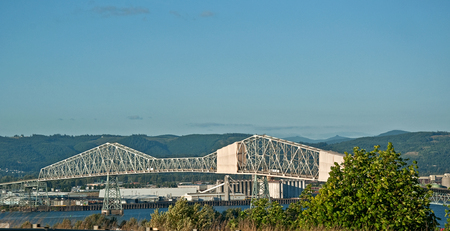 This is the bridge in Astoria Oregon, the Megler bridge that spans the huge Columbia River. Stock Photo