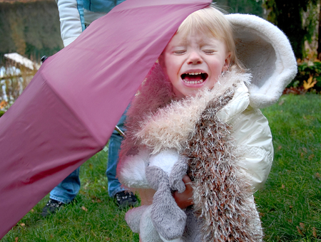 This two year old Caucasian toddler girl is crying outside under a burgundy colored umbrella.   She's wearing a white coat and white furry scarf and holding her stuffed toy dog.  Lots of emotion in this image. photo