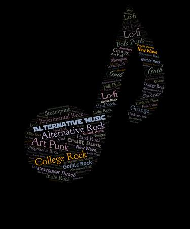 Alternative music word cloud graphic in a music note, features the subgenres of lo-fi, new wave, crust punk, grunge, art punk, gothic rock, alternative rock, college rock, crossoever thrash, indie rock, progressive rock, steampunk, hard rock, folk punk, shoegaze, hardcore punk.  An illustration to alternative music genre fans. Imagens