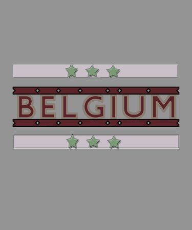Belgium graphic word.  Trendy muted colors of dustry mauve pink, sage green, burgandy and taupe for this European nation or country illustration.  Many concepts for use, including travel and sports.