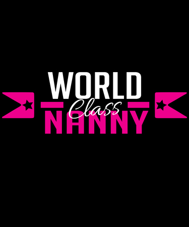 World class nanny graphic with hot pink and white text and badge arrows.  Great for professional nannies, nanny agencies and any other genre regarding childcare professionals. Stock Photo