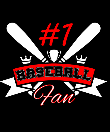 #1 baseball fan graphic with two baseball bats and red and white text in this illustration for sports fans especially baseball.  Great for baseball players, coaches and parents.