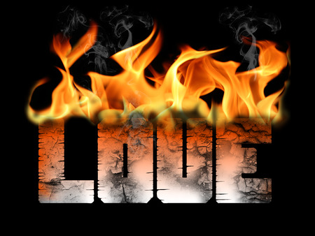 Love on fire word text with flames and smoke on a cracked and burnt word.  Represents many emotions and relational concepts on a black background in this graphic.