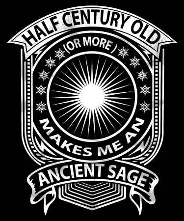 Half century old ancient sage graphic for people 50 years or older, being wise or having wisdom. Stok Fotoğraf
