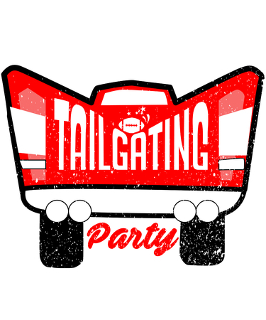 Tailgating party is a graphic dedicated to an American cultural experience of food, party, and friends either before or after a sports game, like football. 写真素材
