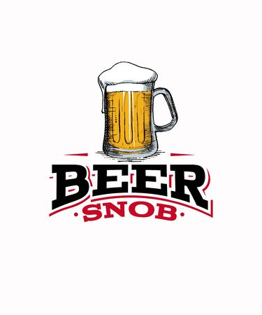 Beer snob graphic design illustration with a tall mug of beer with a foam head on a white background.