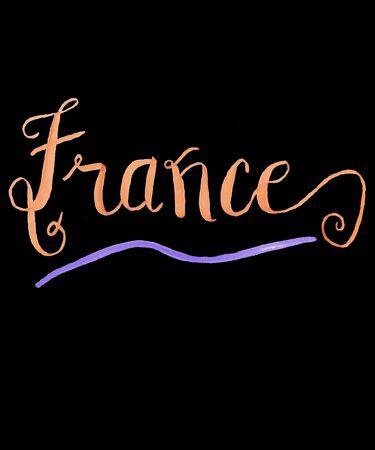 France hand lettered calligraphy script in a light orange color with purple swash on a black background illustration.