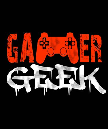 Gamer geek text graphic in red and white grunge fonts with a video game controller in this illustration for gamers and gaming fans.