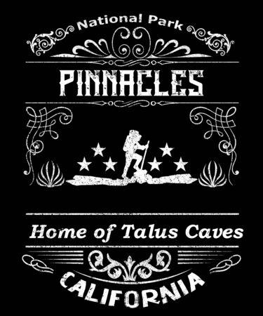 Pinnacles National park California grunge typgoraphy illustration graphic design.