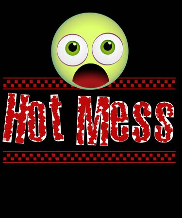 Hot mess emoji surprised, and shocked on a black background illustration with a smiley emotion. Imagens