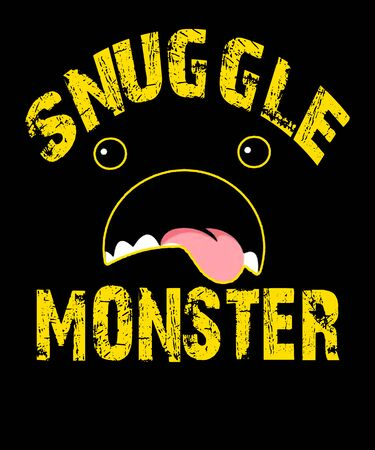 Words snuggle monster with a mouth with tongue sticking out in the graphic with a black background. Grunge style, would make good wall art. 版權商用圖片