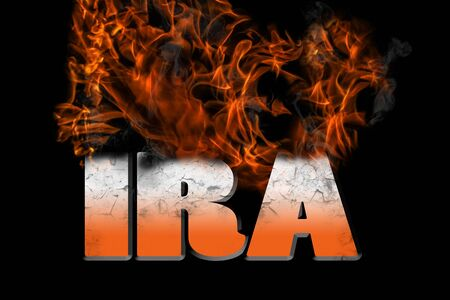 IRA investment in flames graphic for financial and personal finances, retirement concepts on a black background. Stock Photo