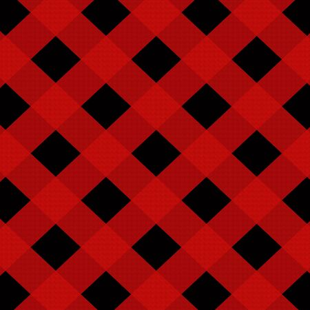 Twill red and black diagonal buffalo plaids background illustration. 12x12 digital paper for backdrops, page elements and graphic design. Scottish tartan seamless pattern geometric checkered abstract.