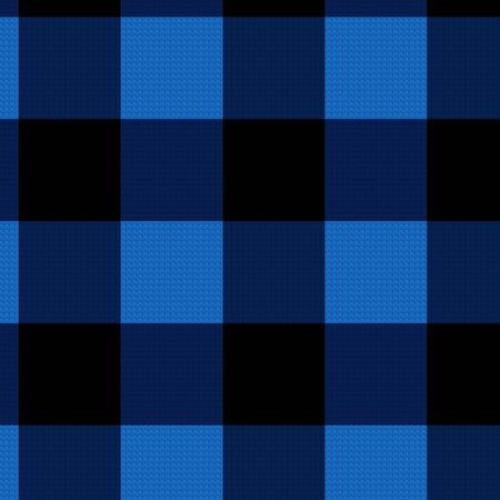 Twill blue and black buffalo plaid pattern in larger scale checkered background. 12x12 illustration for graphic design, page elements, backdrops.