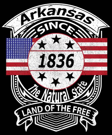 Arkansas retro grunge typography design with an American flag says since 1836, land of the free and state slogan of the natural state.  White text on a black background of this American state and travel industry. Stock fotó