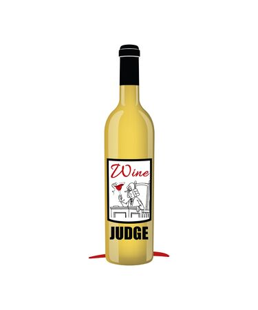 Wine judge graphic with a bottle of white wine on a white background.  Great for wine concepts, wine competitions and for the wine lover.