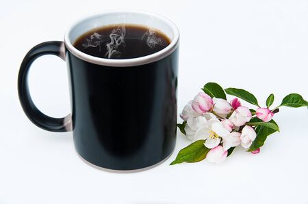 Black coffee cup with cherry blossoms still life. This coffee mug has steaming hot black coffee with copy space for text or graphic on this side for mockups or styled product photos. Still life has a cluster of cherry blossoms on a light background.