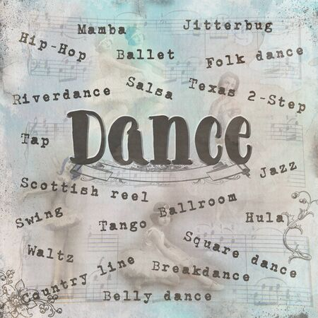 Dance digital art in ephemera vintage style with musical notes